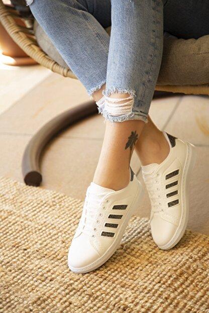 Du Jour Paris Beyaz Platin Kadın Spor Ayakkabı 4000-19-101001