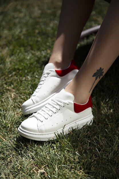 Ayakkabı Modası Beyaz-Kırmızı Kadın Casual Ayakkabı 5007-20-110001