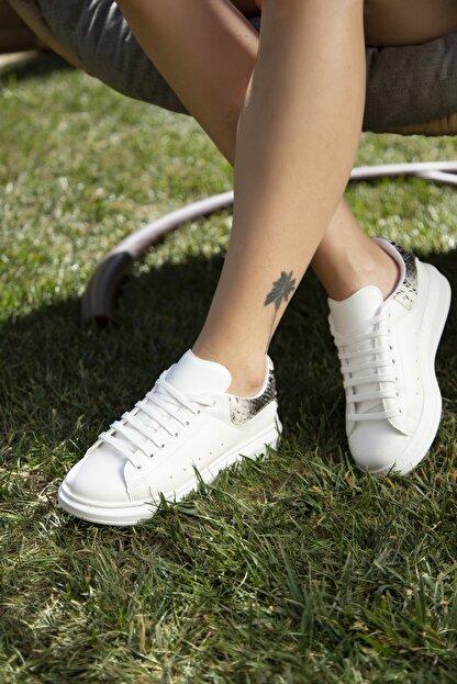 Ayakkabı Modası Beyaz-Yılan Kadın Casual Ayakkabı 5007-20-110001