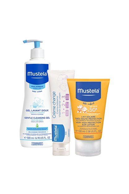 Mustela Bebek Şampuan 500 ml + Güneş Koruyucu Spf 50+ 100 ml + Pişik Kremi 50 ml SS20200612010