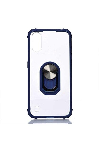 Samsung Galaxy A01 Kılıf Yüzüklü Stand Olabilen Ortası Şeffaf Kapak(lacivert)+ekran Koruyucu Cam