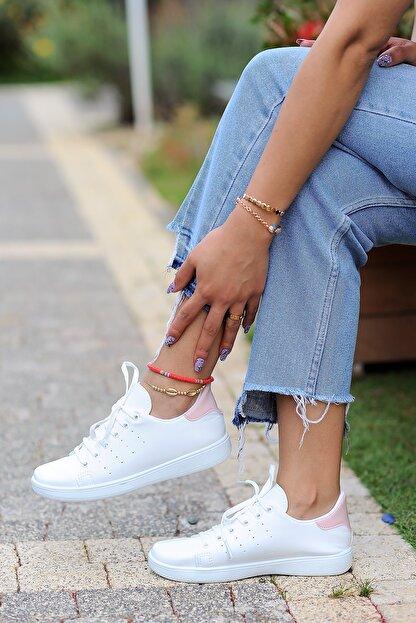Pembe Potin Kadın Beyaz Pembe Ayakkabı