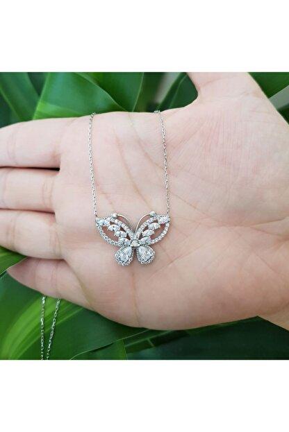 CNG Pırlanta Modeli Taşlı Kelebek Gümüş Bayan Kolye