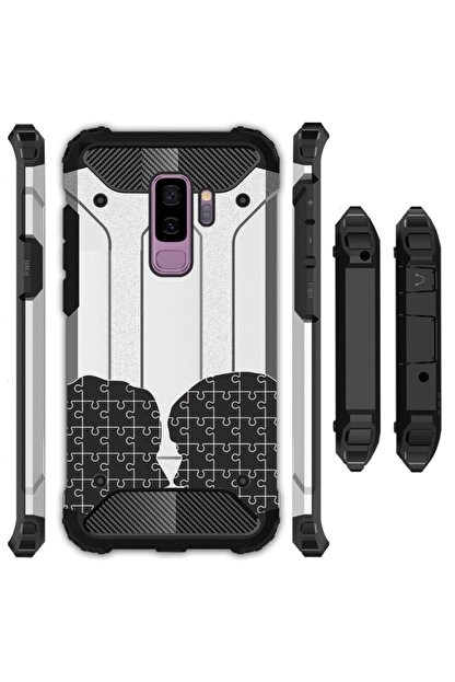 cupcase Samsung Galaxy A6 Plus 2018 Kılıf Desenli Sert Korumalı Zırh Tank Kapak - Puzzle Love