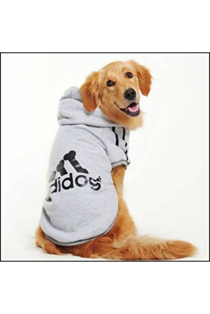 Kemique Gri Kapşonlu Adidog Sweatshirt Büyük Köpekler Için