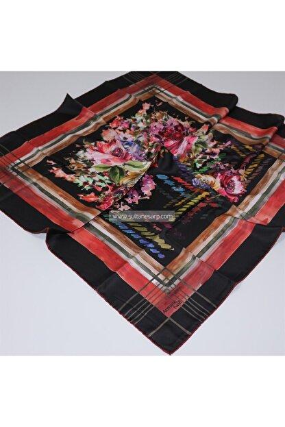 Armine Twill Eşarp - 1031p 42 - Siyah-kırmızı