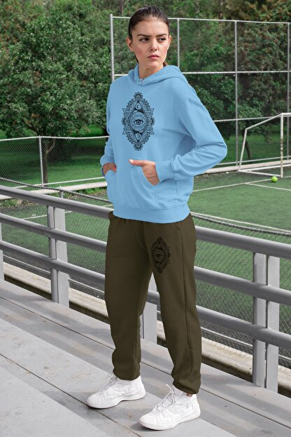 Angemiel Wear Üçgen Motifleri Ay Ve Göz Kadın Eşofman Takımı Mavi Kapşonlu Sweatshirt Yeşil Eşofman Altı