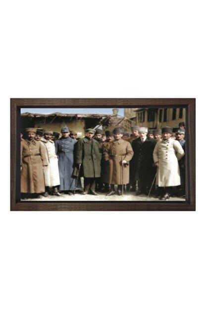 Deniz Çerçeve & Tuval Atatürk Kurmarlarıyla Tablosu Kahverengi Ahşap Çerçeve-50x70