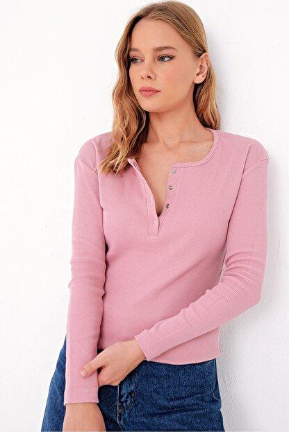 Trend Alaçatı Stili Kadın Pudra Pembe Çıtçıtlı Kaşkorse Bluz MDS-345-BLZ