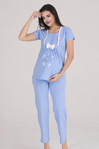 Sevil Giyim Kadın Mavi 4 Düğmeli Fiyonklu Nakışlı Hamile Pijama Takımı