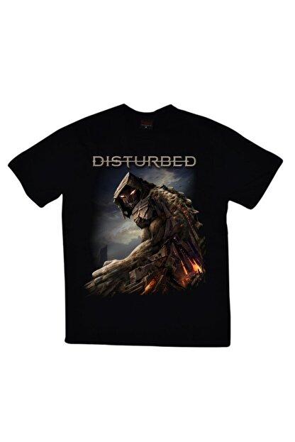 fame-stoned Unisex Siyah Disturbed Baskılı T-shirt