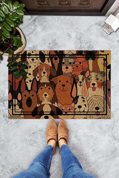 Evsebu Somurtkan Ve Gülen Köpekler Dekoratif Kapı Önü Paspası