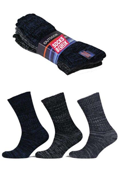 socksbox Erkek Siyah Outdoor Termal Etkili Kışlık Jeans Çorap 3 Adet