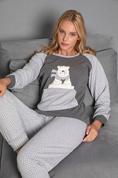 Strawberry Kadın Gri Pamuklu Interlok Pijama Takimi