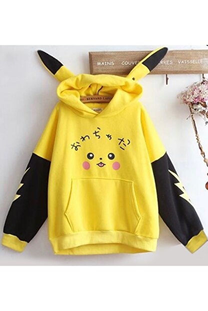 LUCKY GRUP Kadın Sarı Pikaçu Özel Tasarım Sweatshirt