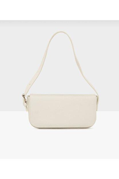 GLAMOURBAG Kadın Beyaz Kapaklı Çanta