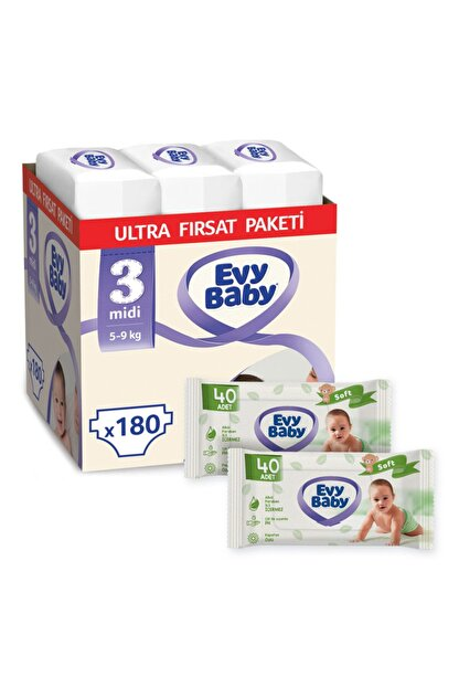 Evy Baby Bebek Bezi 3 Numara Midi 180 Adet Ve 2 Paket Islak Havlu