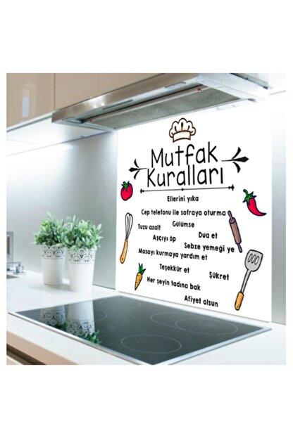 Kolhis -48cmx60cm- Beyaz Mutfak Kuralları | Ocak Arkası Koruyucu Cam -ocak Üstü Koruyucu Cam