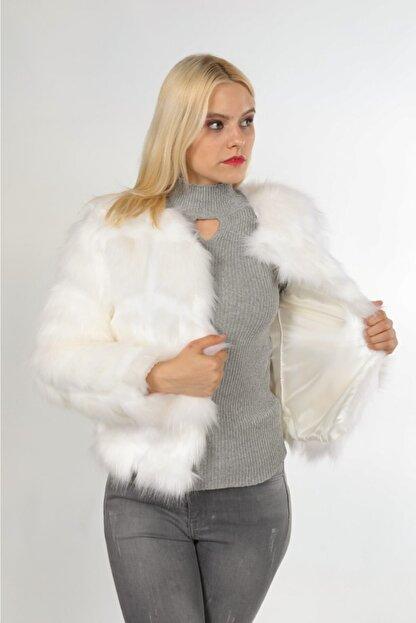 navy ESL Kadın Beyaz Kısa Kürk Ceket