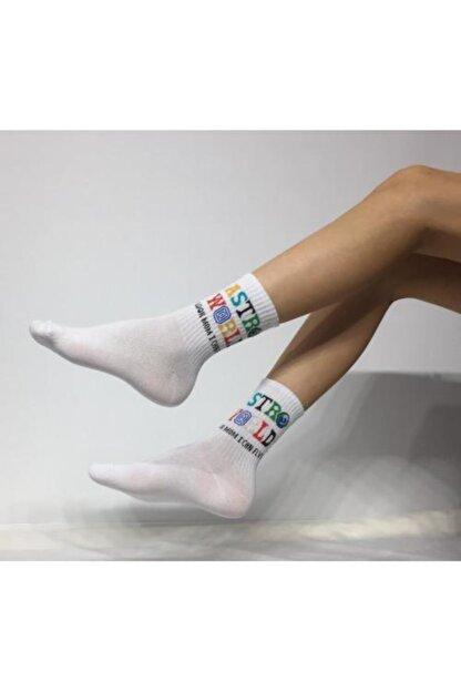 Adel Kokulu Unisex Astro World Desenli Kolej Çorabı