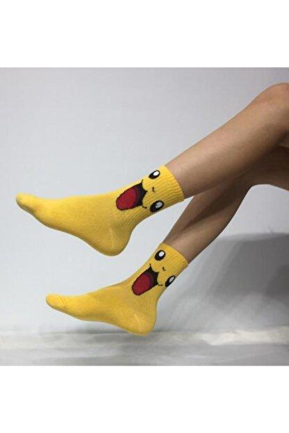 Adel Kokulu Unisex Pikachu(Pikaçu) Desenli Kolej Çorabı