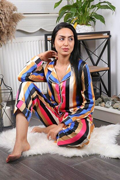 Neşeli Butik Kadın Yeni Sezon Çizgili Saten Pijama Takımı Nb7215