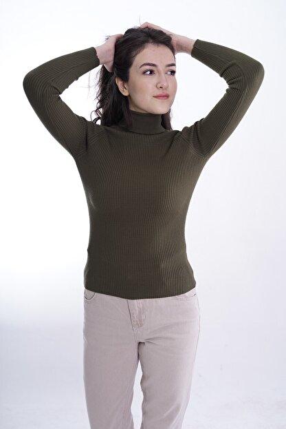butikburuç Kadın Haki Balıkçı Yünlü Triko Bluz