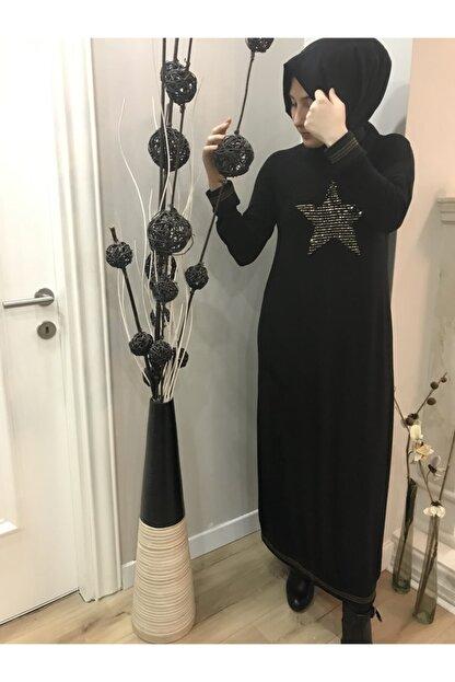 AYSUN AYDEMİR Gold Yıldız Detaylı Siyah Elbise