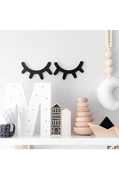 Walldeco Bebek Çocuk Odası Duvar Dekorasyonu Siyah Ahşap Kirpik Uyku Sembolü