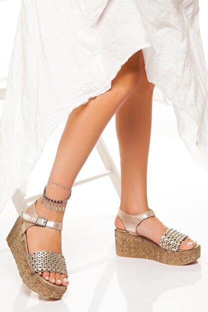 derithy Kadın Altın Dolgu Topuklu Ayakkabı