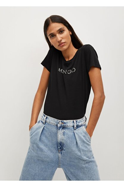 Mango Kadın Siyah Organik Pamuklu Logolu Tişört