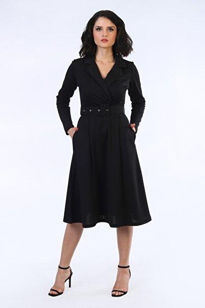 Be Happy Woman Kadın Siyah Kemerli Kruaze Yaka Midi Boy Elbise