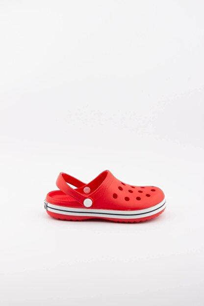 Akınalbella Çocuk Kırmızı Beyaz Şeritli Crocs Terlik