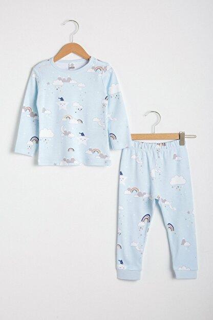 LC Waikiki Erkek Bebek Açık Mavi Baskıl Lqk Pijama Takımı