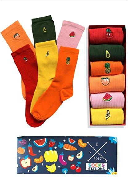 Socks Stations 6'lı Meyveler Nakışlı Renkli Çorap Kutusu