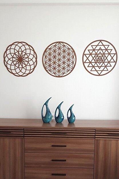Naz Ahşap Design Yaşam Çiçeği Sri Yantra Ve Torus 3'lü Set Kahverengi Duvar Tablosu