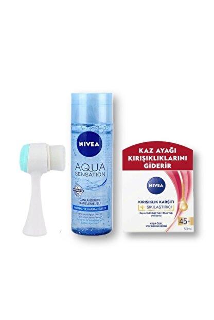 Nivea Aqua Sensation Yüz Temizleme Jeli +kırışıklık Karşıtı 45+ Yüz Bakım Kremi + Yüz Temizleme Fırçası