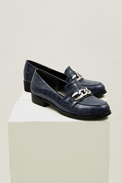 Mio Gusto Kadın Lacivert Bristol Oxford Ayakkabı