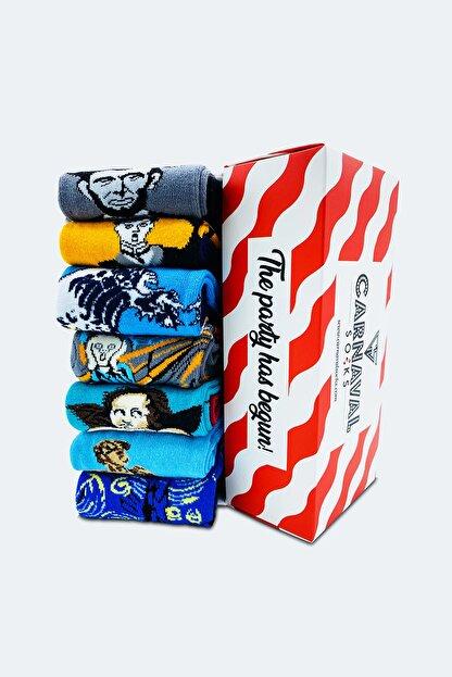 CARNAVAL SOCKS 7'li Sanatsal Çorap Desenli Tasarım Renkli Socks Set 1010