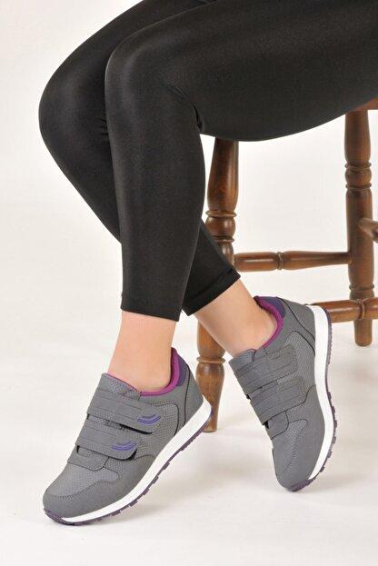 Özay ayakkabı Unisex Gri Renk Çift Bantlı Spor Ayakkabı