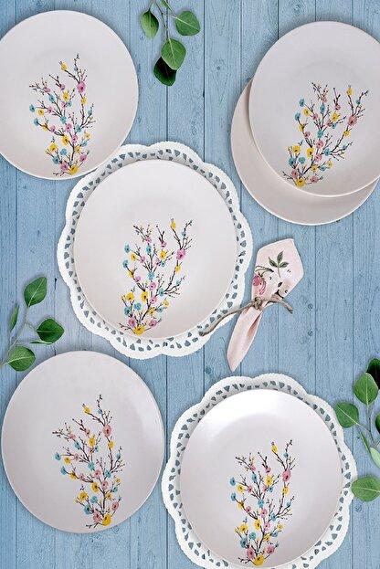 Keramika İlkbahar Tomurcuk  Servis Tabağı 26 Cm 6 Adet