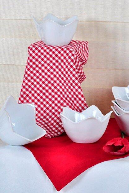 Keramika Beyaz Zambak Çerezlik / Sosluk 12 Cm 6 Adet