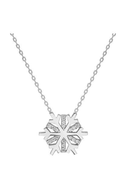Chavin Kadın Kar Tanesi Zirkon Taşlı Gümüş Kolye