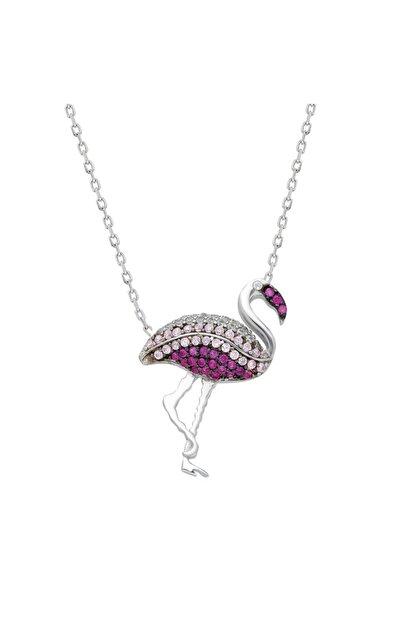 Chavin Flamingo Zirkon Taşlı Gümüş Kolye Dz49by