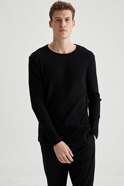 Defacto Erkek Siyah Bisiklet Yaka Slim Fit Uzun Kollu Basic Tişört