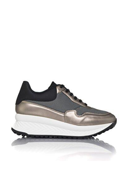 İnci Kadın Gri Vegan Atlas Tekstil Bağcıklı Klasik Spor Ayakkabı -i3010