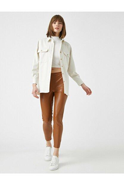 Koton Kadın Kahverengi Deri Görünümlü Pantolon