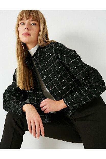 Koton Kadın Siyah Kareli Bomber Ceket
