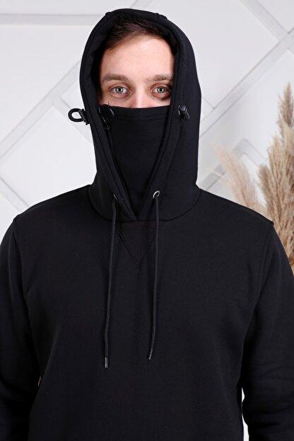 ZEKA GRUP TEKSTİL Erkek Siyah Kendinden Maskeli Kapüşonlu Kanguru Cepli Sweatshirt