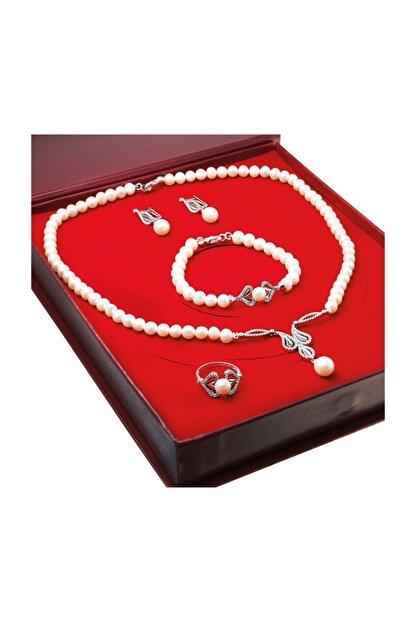 Chavin Kadın Beyaz İnci Gümüş Kolye Küpe Bileklik Yüzük Takım Set ds35